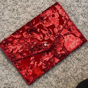 **NWOT—NEVER WORN** Red Sequin Velvet Clutch